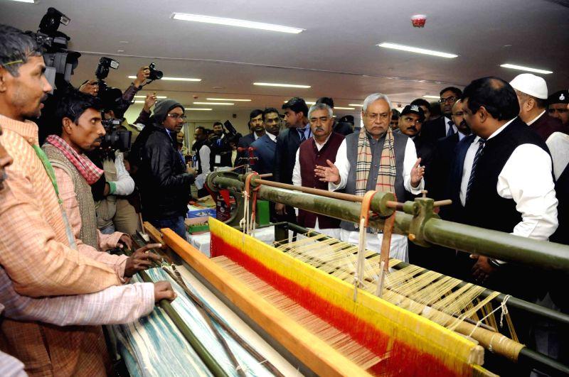 Bihar Chief Minister Nitish Kumar during his visit to Rashtriya Khadi Gramodyog Mahotsav in Patna on Feb 1, 2018. - Nitish Kumar