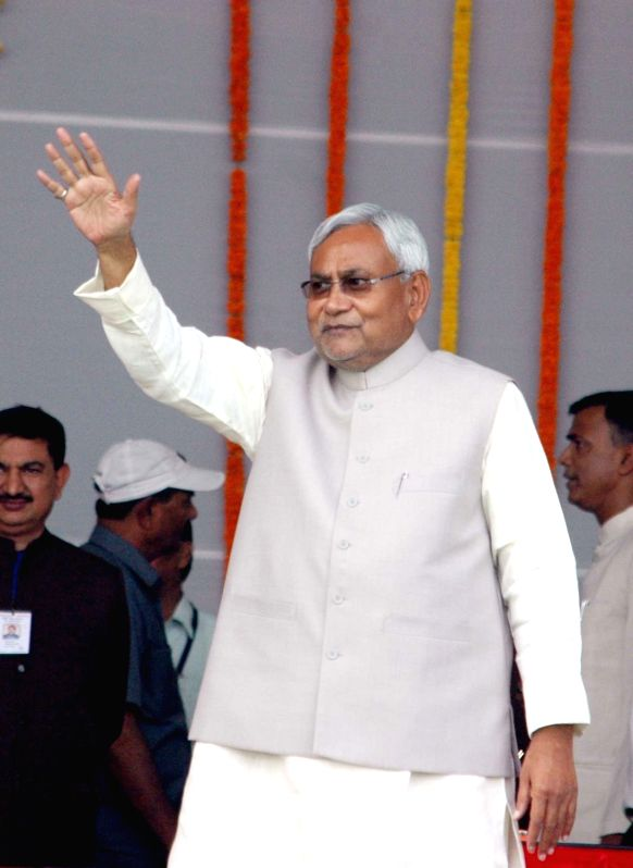 Bihar Chief Minister Nitish Kumar during the swearing-in ceremony of the new JD-U-RJD-Congress coalition government in Patna, on Nov 20, 2015. - Nitish Kumar
