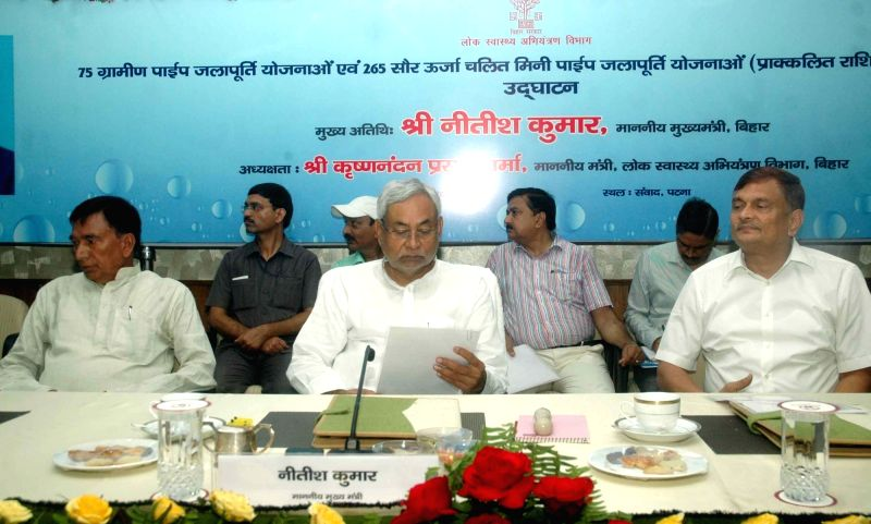 Bihar Chief Minister Nitish Kumar during the inauguration of rural piped water supply schemes in Patna on July 20, 2016. - Nitish Kumar