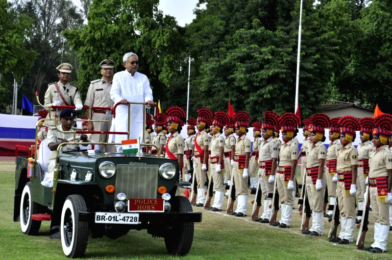 Bihar Chief Minister Nitish Kumar inspects guard of honour on foundation day of Bihar Police Vahini, in Patna, on July 13, 2018. - Nitish Kumar