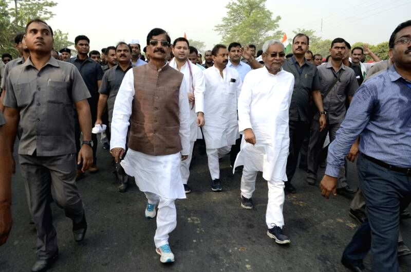 Bihar Chief Minister Nitish Kumar participates at Gandhi Smriti Yatra in Champaran district to mark the 100th year of Mahatma Gandhi's first major satyagraha against the British rule, on ... - Nitish Kumar and Tejaswi Yadav