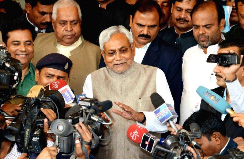 Bihar Chief Minister Nitish Kumar talks to press at the Bihar assembly in Patna on Dec 4, 2015. - Nitish Kumar
