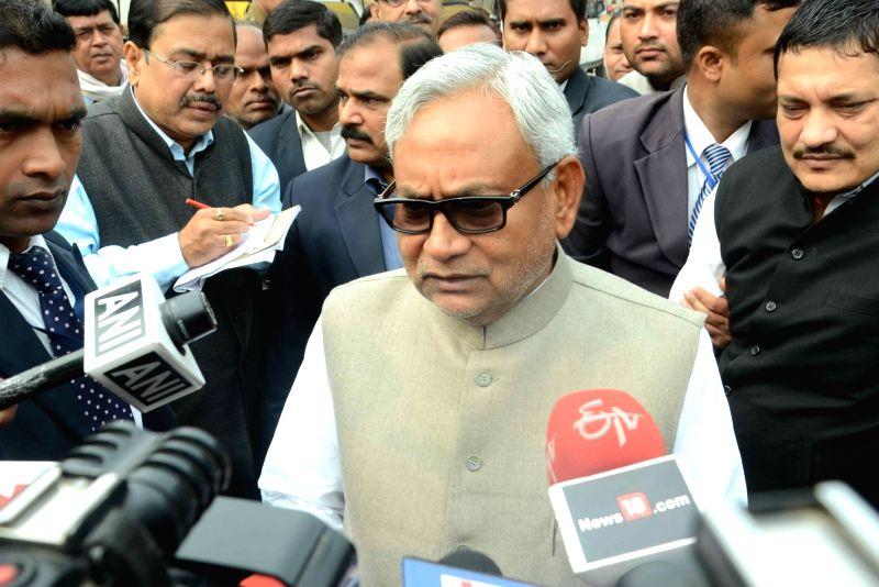 Bihar Chief Minister Nitish Kumar talks to press in Patna, on Dec 6, 2015.