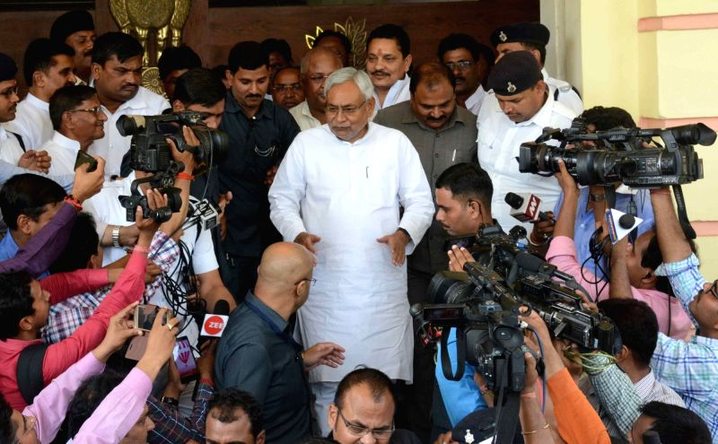 Bihar Chief Nitish Kumar comes out after filing nomination papers for upcoming Bihar Legislative Council elections in Patna, on April 16, 2018. - Chief Nitish Kumar