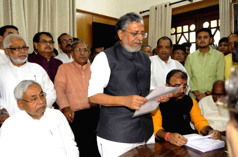 Bihar Deputy Chief Minister and BJP leader Sushil Kumar Modi files nomination papers upcoming for Bihar Legislative Council elections in Patna, on April 16, 2018. - Sushil Kumar Modi