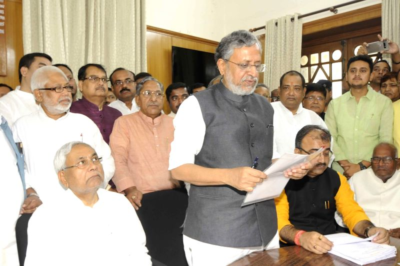 Bihar Deputy Chief Minister and BJP leader Sushil Kumar Modi files nomination papers for upcoming Bihar Legislative Council elections in Patna, on April 16, 2018. - Sushil Kumar Modi