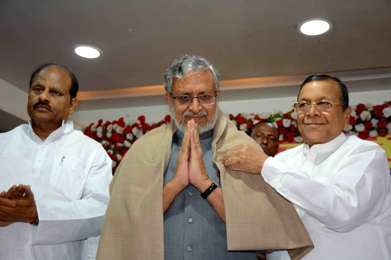 "Bihar Deputy Chief Minister Sushil Kumar Modi during a programme organised to celebrate ""Agrasen Jayanti"" in Patna on Sept 24, 2017. - Sushil Kumar Modi"