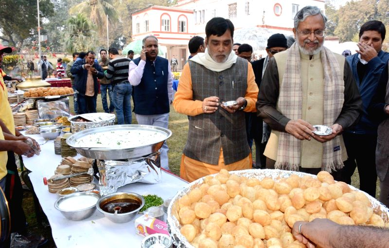 Bihar Deputy Chief Minister Sushil Kumar Modi with Union minister Ram Kripal Yadav during a get-together at his residence in Patna on Jan 27, 2018. - Sushil Kumar Modi and Kripal Yadav