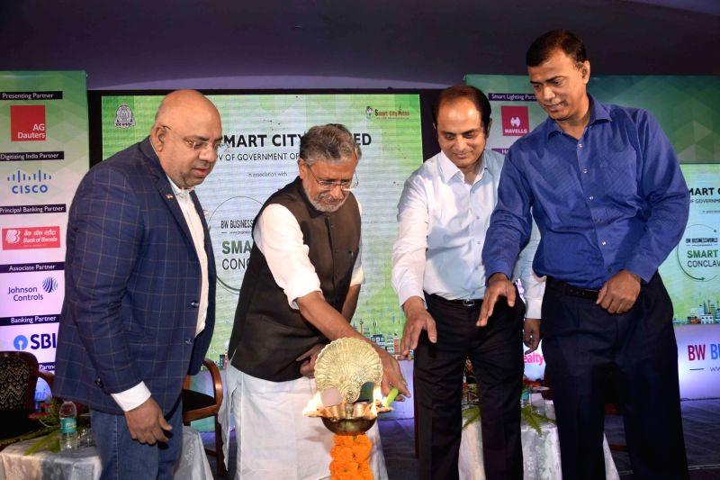 Bihar Deputy Chief Minister Sushil Kumar Modi during Smart Cities Conclave in Patna on April 13, 2018. - Sushil Kumar Modi