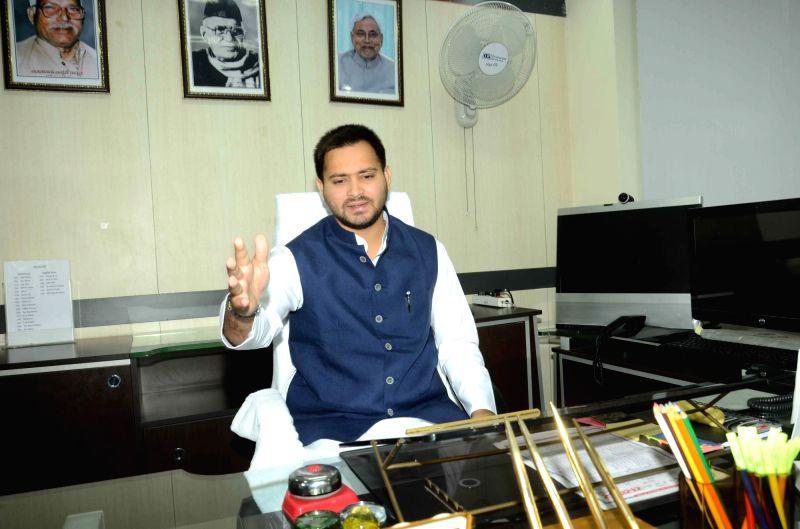 Bihar Deputy Chief Minister Tejashwi Yadav assumes office in Patna, on Nov 23, 2015.