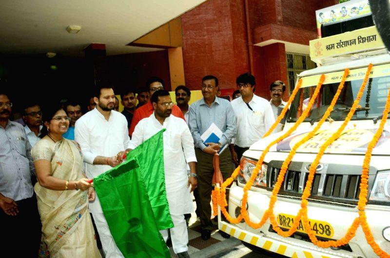 Bihar Deputy Chief Minister Tejashwi Yadav flags off Shiksha Rath on World Day Against Child Labour in Patna, on June 12, 2017. - Tejashwi Yadav