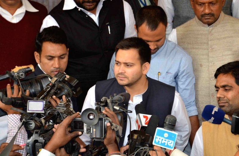 Bihar Deputy Chief Minister Tejashwi Yadav talks to press at the​ state assembly in Patna on Dec 4, 2015.