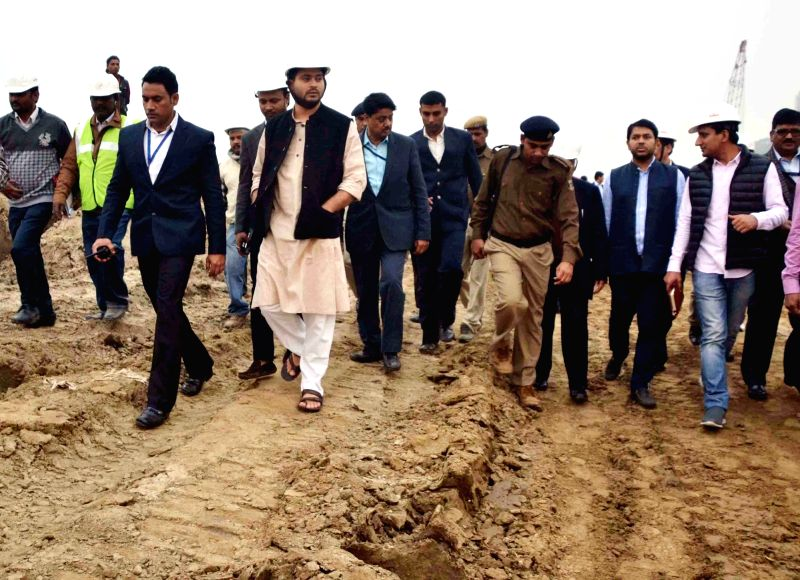 Bihar Deputy Chief Minister Tejaswi Yadav inspect progress of development works in Patna on Dec 11, 2015. - Tejaswi Yadav