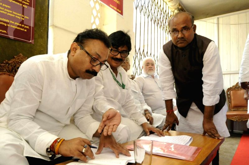 Bihar Education Minister Ashok Choudhry during  presidential polls at Bihar Assembly in Patna on July 17, 2017. - Ashok Choudhry