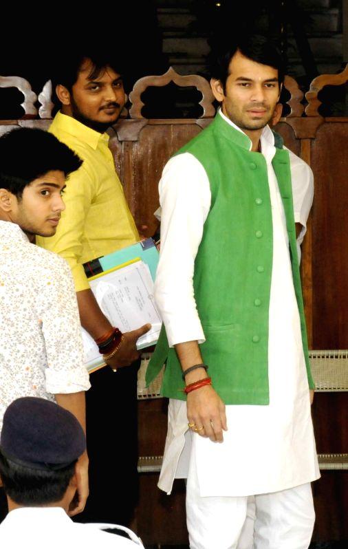 Bihar Health Minister Tej Pratap Yadav arrives at the state assembly in Patna on Aug 4, 2016. - Tej Pratap Yadav