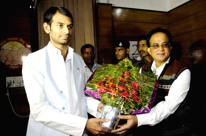 Bihar Health Minister Tej Pratap Yadav assumes office in Patna, on Nov 23, 2015.