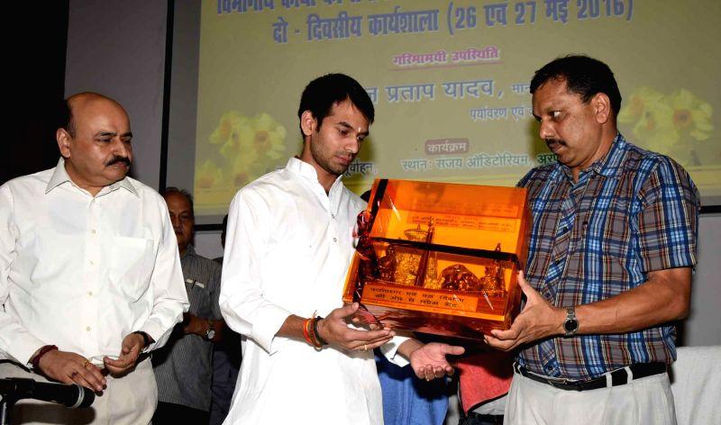 Bihar Health Minister Tej Pratap Yadav during a meeting in Patna, on May 26, 2016. - Tej Pratap Yadav