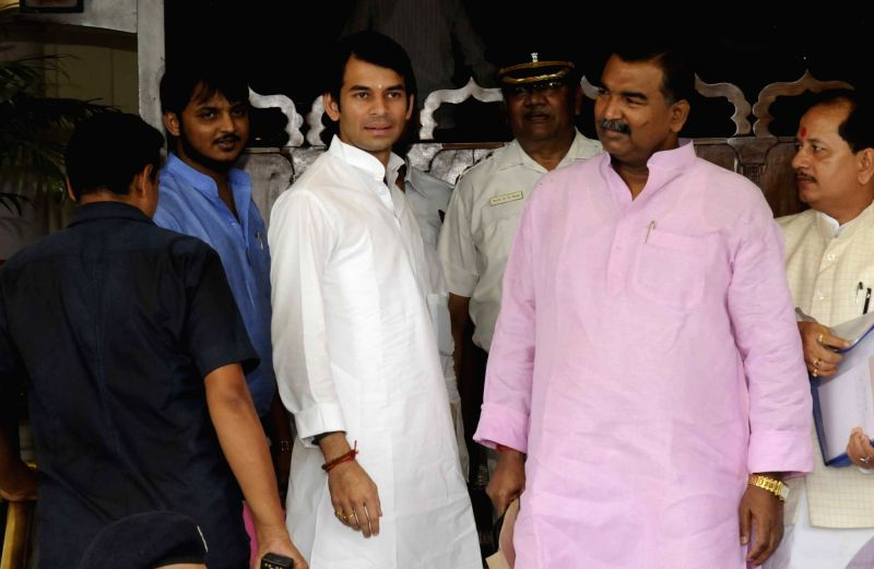 Bihar Health Minister Tejpratap Yadav  arrives at state assembly to attend monsoon session in Patna, on Aug 1, 2016. - Tejpratap Yadav