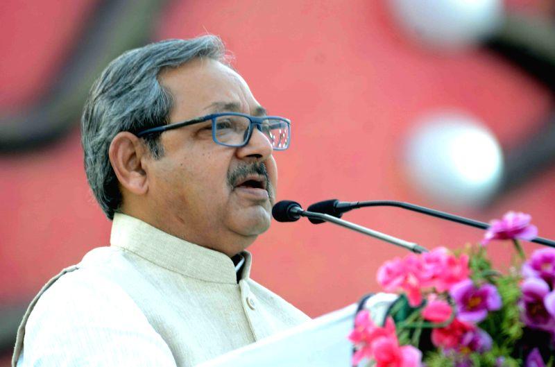 Bihar HRD Minister PK Shahi addresses on the concluding day of Bihar Divas celebrations in Patna, on March 24, 2015.