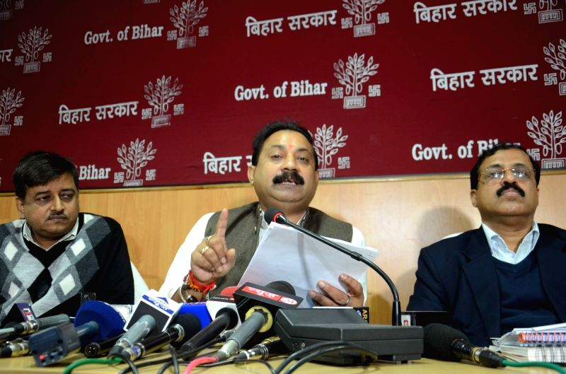 Bihar Minister Ashok Choudhary addresses a press conference in Patna on Dec 10, 2015.
