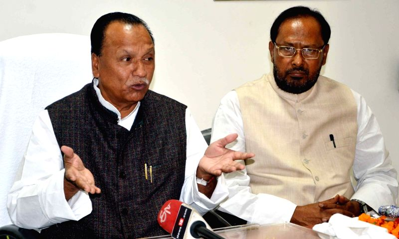 Bihar Minority Affairs Minister Abdul Gafoor addresses a press conference in Patna on Nov 23, 2015.