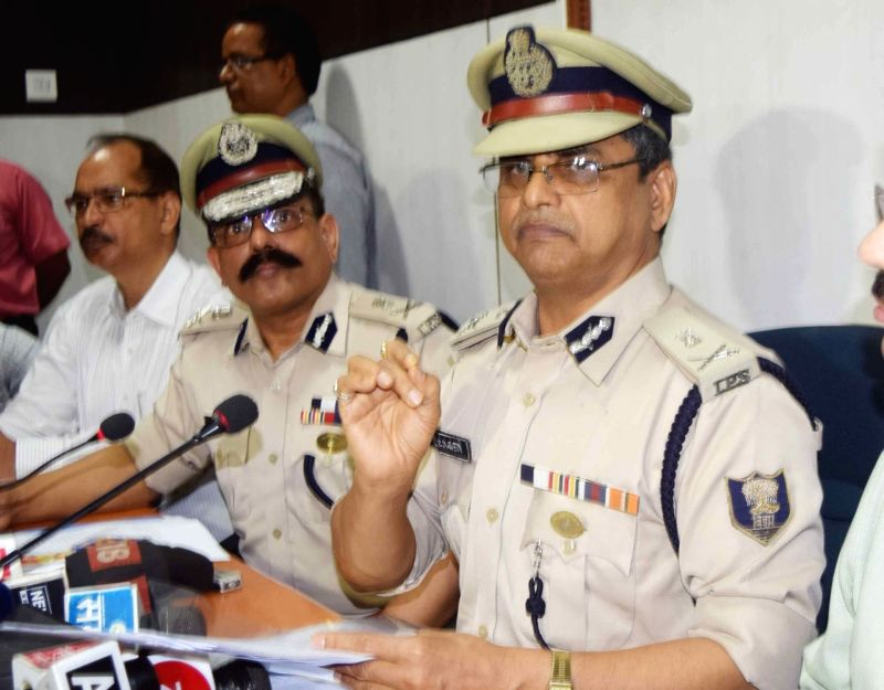 Bihar's Director General of Police (DGP) K.S. Dwivedi addresses a press conference regarding  the alleged rape-murders of inmates of a girls' home in Muzaffarpur; in Patna on July 24, 2018.