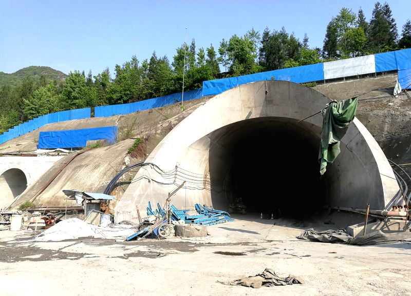 BIJIE, May 3, 2017 - Photo taken on May 2, 2017 shows the railway tunnel after the accident at Dafang County in Guizhou Province. All of the 12 people trapped in a railway tunnel blast in southwest ...