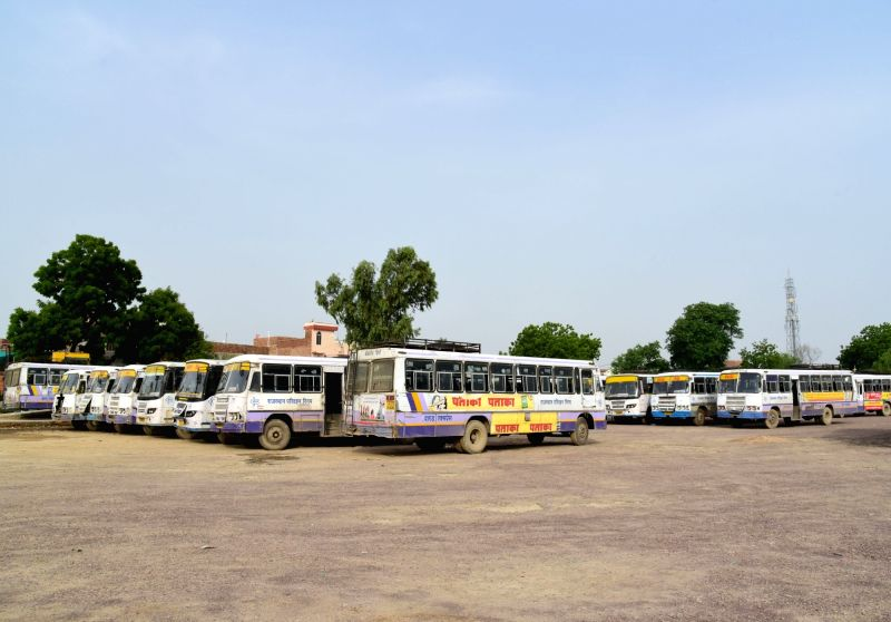 : Bikaner: Buses remain parked at a bus stand after Rajasthan roadways buses across the state went on a strike, in Bikaner on July 26, 2018. (Photo: IANS).