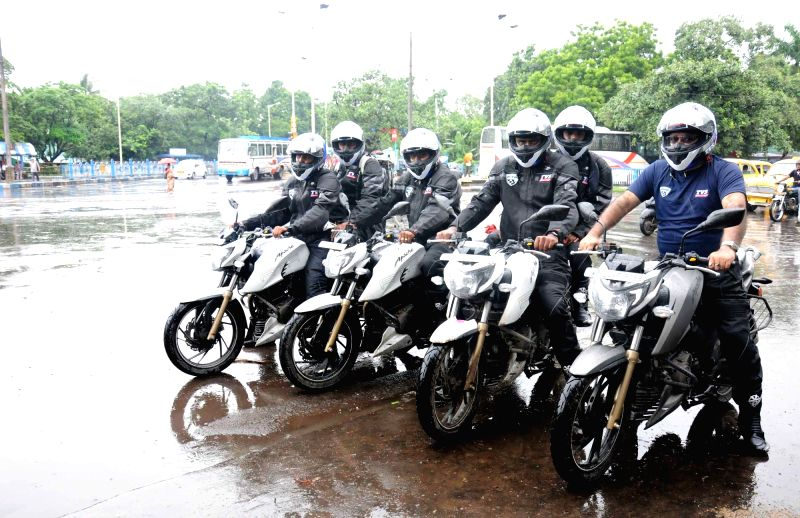 Bikers embark on a motorcycle expedition in which they will be riding at the altitude of 21,500 feet; in Kolkata on Aug 10, 2016.