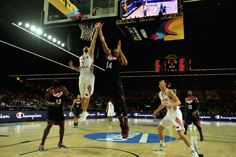 Anthony Davis (2nd R) of the United States vies for the ball during the Group C match between the United States and Turkey at the 2014 FIBA Basketball World Cup, in .