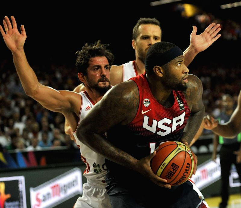 DeMarcus Cousins (R) of the United States competes during the Group C match between the United States and Turkey at the 2014 FIBA Basketball World Cup, in Bilbao, ...