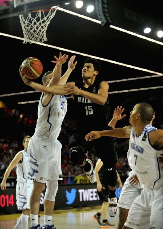 Tai Webster of New Zealand goes for the basket during the group C game against Finland at the 2014 FIBA Basketball World Cup, in Bilbao, Spain, on Sept. 4, 2014.  ...