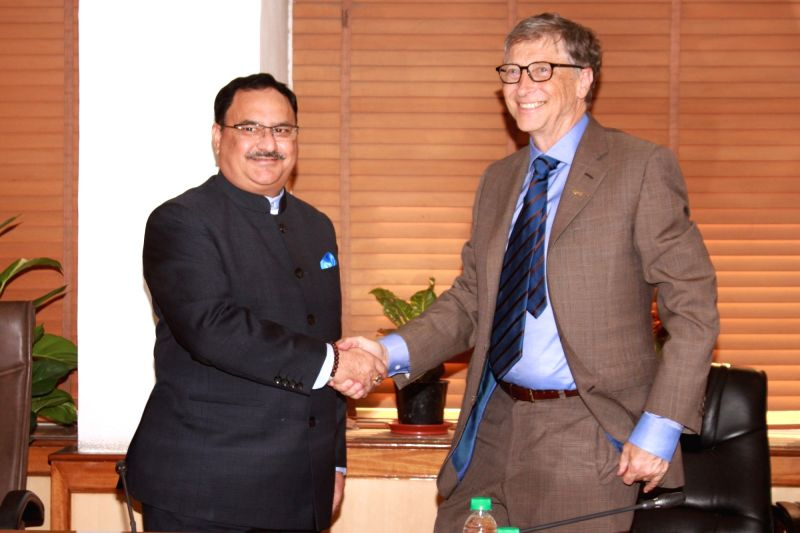 Bill and Melinda Gates Foundation (BMGF) Chairman Bill Gates calls on Union Minister for Health and Family Welfare J P Nadda in New Delhi, on Dec 4, 2015.
