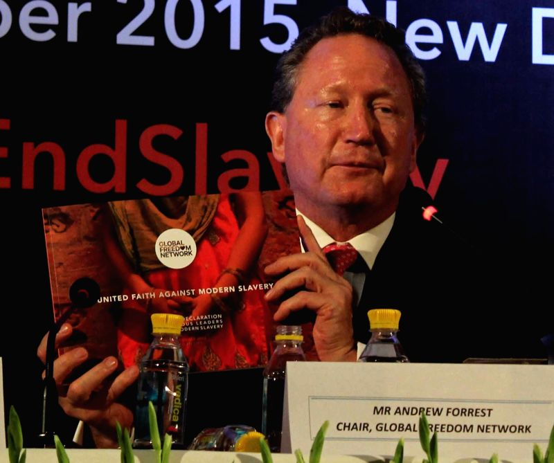 "Billionaire Andrew Forrest  during "" Joint Declaration Against Modern Slavery"" - a programme organised by Global Freedom Network in New Delhi, on Dec 3, 2015."
