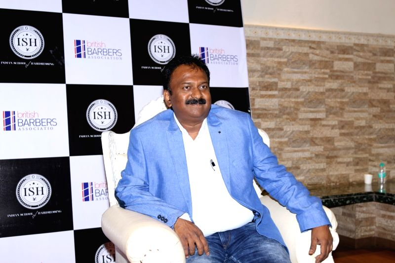 Billionaire Barber Ramesh Babu during the India's first hair styling event dedicated to Men's grooming in Mumbai on April 17, 2017.
