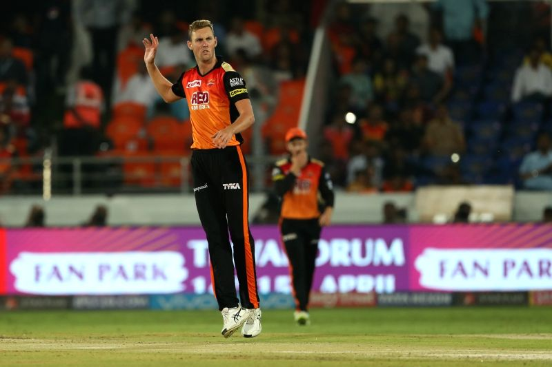 Billy Stanlake of Sunrisers Hyderabad during an IPL 2018 match between Sunrisers Hyderabad and Mumbai Indians at Rajiv Gandhi International Cricket Stadium in Hyderabad on April 12, 2018.