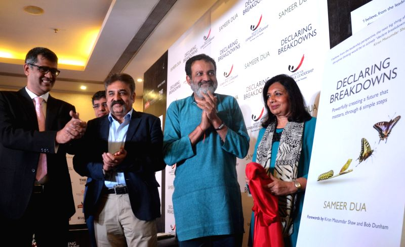"""Biocon CMD Kiran Mazumdar Shaw, Manipal Global Education Chairman TV Mohandas Pai and author Sameer Dua during the release of the book """"Declaring Breakdowns, Powerfully Creating a ..."""