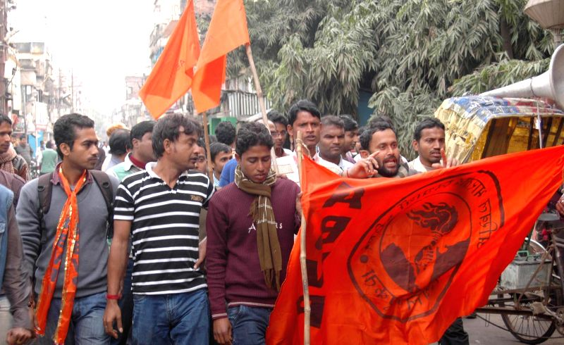 Students stage demonstration over the filing of nominations for college union elections in various colleges of west Bengal`s Birbhum district on Jan. 3, 2015.