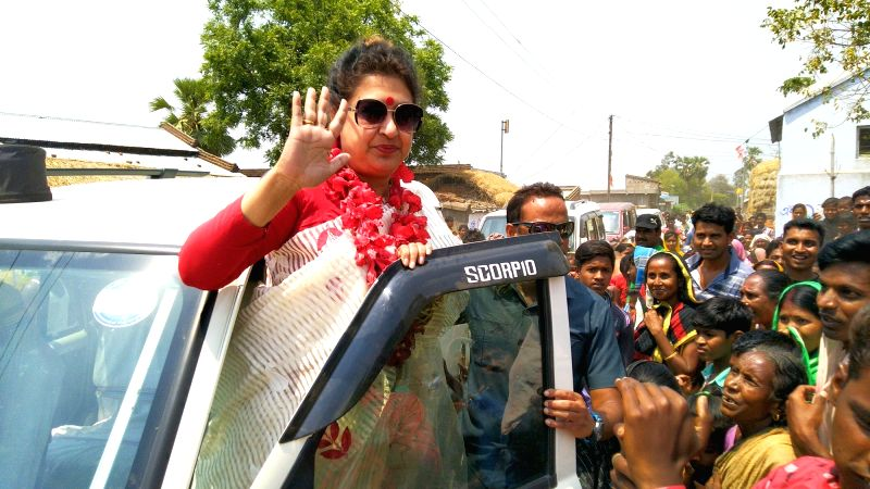 Birbhum: TMC MP and party's Lok Sabha candidate from Birbhum, Satabdi Roy during an election campaign ahead of the 2019 Lok Sabha polls, at Panditpur, in West Bengal's Birbhum district, on April 21, 2019.
