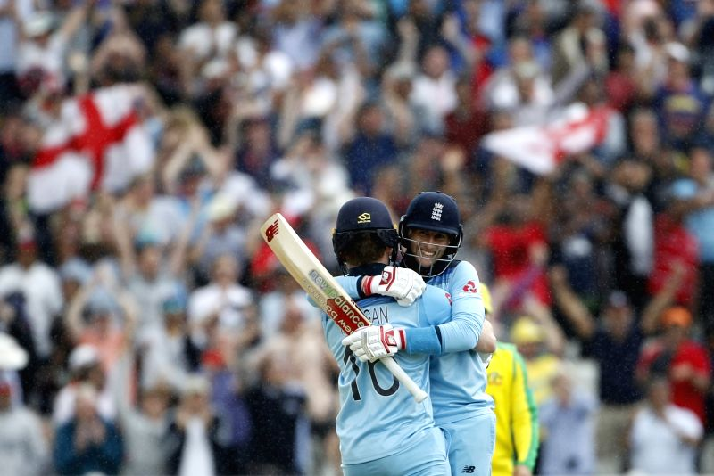 Birmingham: England's Eoin Morgan and Joe Root celebrate after winning the second semi-final match of the 2019 World Cup between against Australia at the Edgbaston Cricket Stadium in Birmingham, England on July 11, 2019. England won by 8 wickets. (Ph