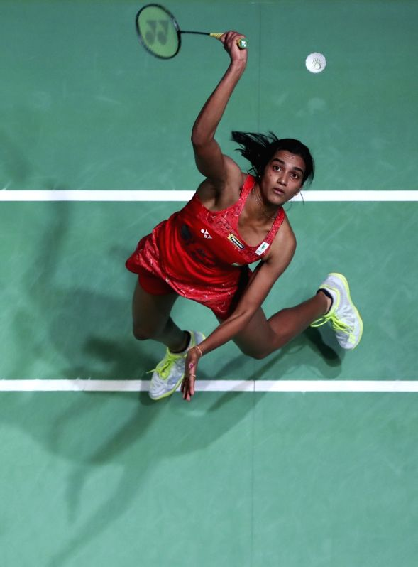 BIRMINGHAM, March 18, 2018 (Xinhua) -- Pusarla Venkata Sindhu of India returns the shuttlecock during the women's singles semi-final with Akane Yamaguchi of Japan at All England Open Badminton Championships 2018 in Birmingham, Britain on March 17, 20