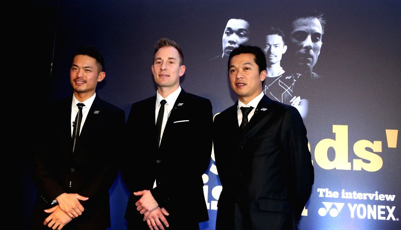 Lin Dan of China, Peter Gade of Denmark and Taufik Hidayat of Indonesia (L-R) pose for a group photo after the Legends' Vision Interview at the Barclaycard Arena ...