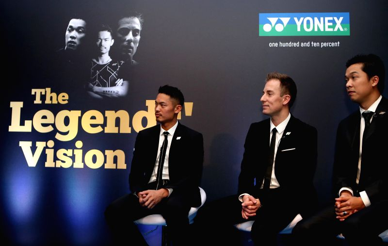 Lin Dan of China, Peter Gade of Denmark and Taufik Hidayat of Indonesia (L-R) are interviewed during the Legends' Vision Interview at the Barclaycard Arena in ...