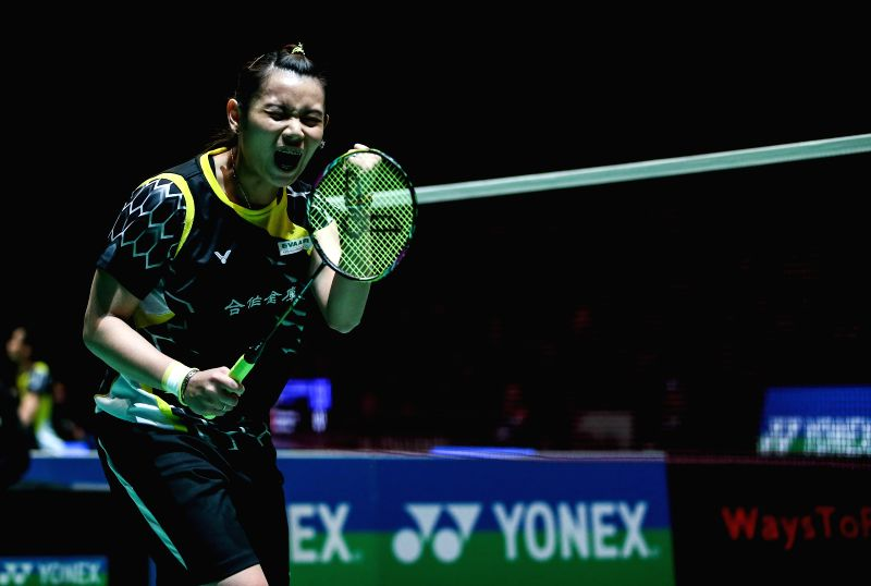 Tai Tzu Ying of Chinese Taipei celebrates after the women's singles quarterfinal against Wang Shixian of China at the All England Open Badminton Championships at ...