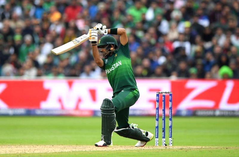 Birmingham: Pakistan's Babar Azam in action during the 33nd match of 2019 World Cup between New Zealand and Pakistan at Edgbaston Stadium in Birmingham, England on June 26, 2019. (Photo Credit: Twitter/@cricketworldcup)