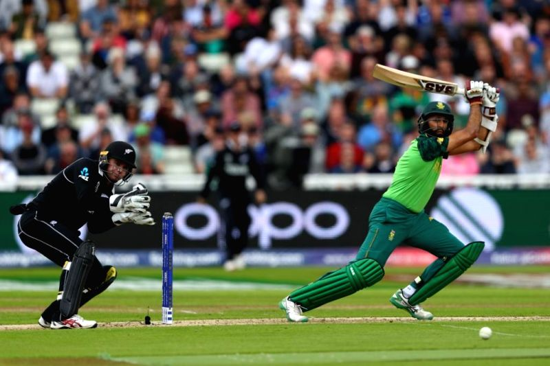 Birmingham: South Africa's Hashim Amla in action during the 25th match of 2019 World Cup between South Africa and New Zealand at Edgbaston Cricket Ground in Birmingham, England on June 19, 2019. (Photo Credit: Twitter/@ICC)
