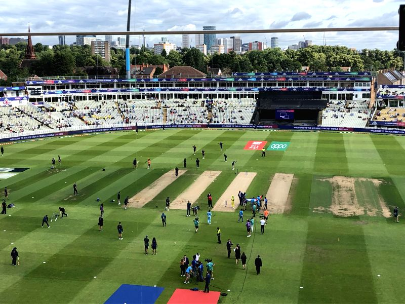 Vacant seats at the Edgbaston Cricket Stadium ahead of the the second semi-final of the 2019 World Cup between England and Australia in Birmingham, England on July 11, 2019.