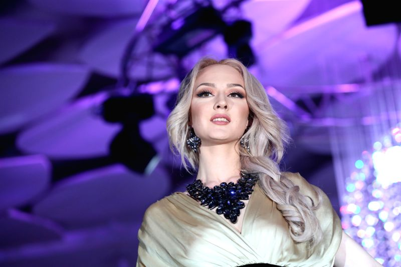 A contestant performs in the 2015 Miss Kyrgyz beauty pageant in Bishkek, Kyrgyzstan, on April 5, 2015
