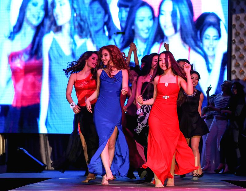 Contestants perform in the 2015 Miss Kyrgyz beauty pageant in Bishkek, Kyrgyzstan, on April 5, 2015