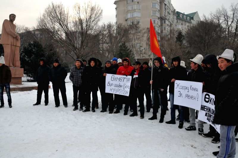 People gather in a park to call for the government  reducing the taxes on import used vehicles, in Bischkek, Kyrgyzstan, on Jan. 23, 2015.
